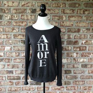 Loft Dark Gray AMORE Long Sleeve Sweater Sz M